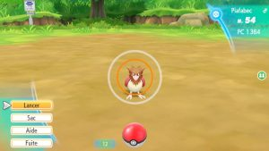 Interface de capture - Pokémon Let's Go