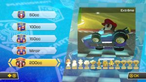 Menu cylindrée Mario Kart 8