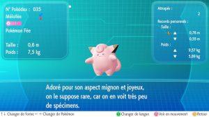 Mélofée dans le Pokédex - Pokémon Let's Go