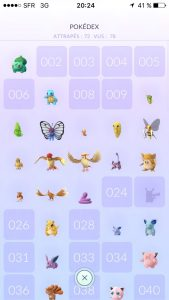 Pokédex de Pokémon GO