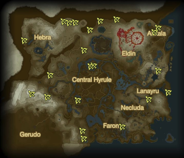 Localisation des 22 Lynel - Zelda Breath of the Wild