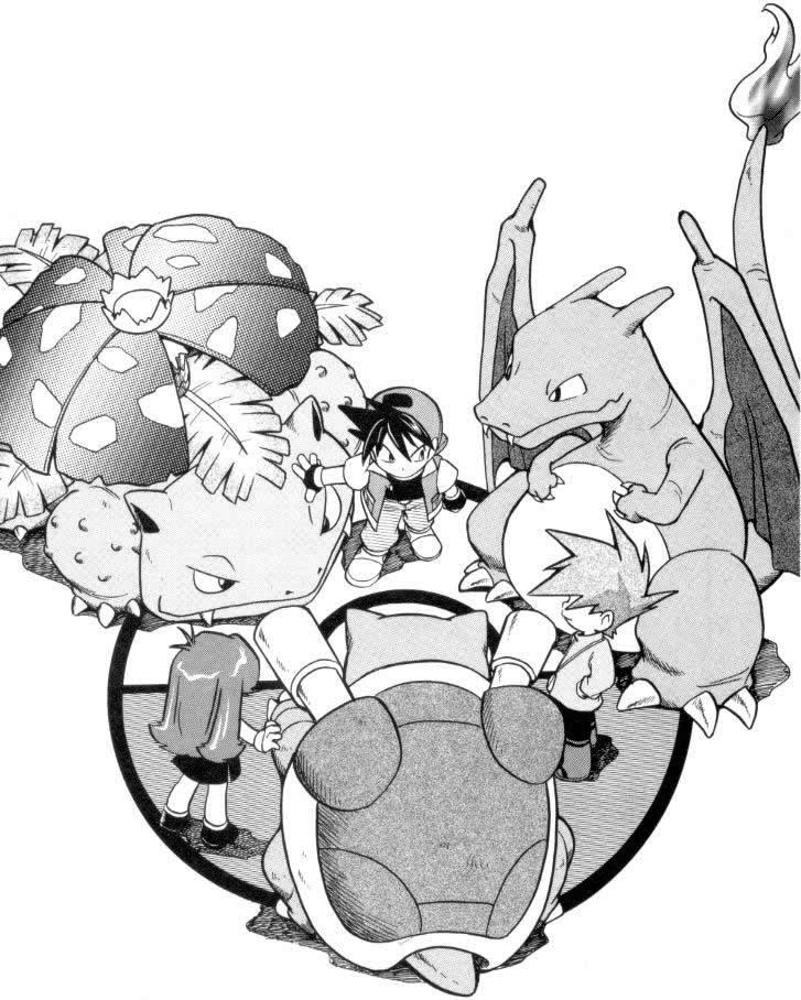"""Rouge, Bleu et Verte avec leurs Pokémon starters dans le manga """"La Grande Aventure"""""""