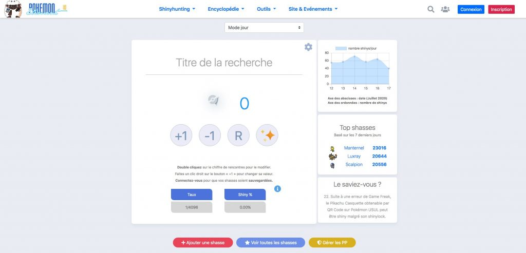 Capture du site Pokémon Éléments SH