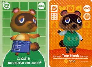 Comparaison entre une carte-e Animal Forest + et une carte amiibo Animal Crossing